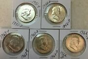 [lot Of 5] Franklin Half Dollar 1951-p 1952-p 1962-d 1963-d 1963-p