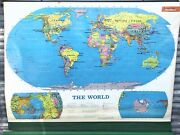 Rand Mcnally And Co The World Vintage Pull Down Retrac School Wall Map 12185