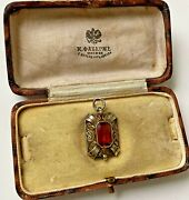 Rare Faberge Design Imperial Russian 88 Silver Pendant In Gilding With A Stone