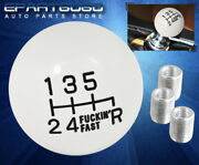For Jeep M/t Lever 6-speed Round Ball Hand Shift Knob Interior Adapter Set White