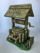 Russian Folklore Village Wood Сarved Collectible Well With Birds And Flowers