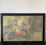 """Hoi Lebadang Modern Abstract Lithograph 1960s Vintage Cubist Horse Rider 50""""wide"""