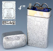 Antique Sterling Silver 4 Travel Or Sewing Etui Pearl Knives Crown Monogram
