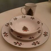 Gibson Christmastree Holiday 4 Place Setting. Porcelain Dinner Ware Dishes