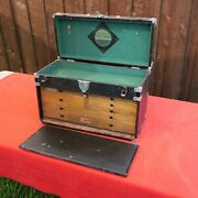 Vintage Schartow Iron Co Sipco Machinist 7 Drawer Tool Box Chest Oak Wood