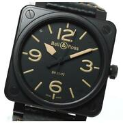 Bell And Ross Heritage Br01-92 Automatic Menand039s Black Dial Ss Leather Belt [e0514]
