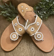 Euc Jack Rogers Womenand039s Thong Sandals Tan And White Whipstitched Leather Size 10 M