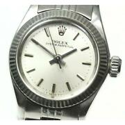 Rolex Oyster Perpetual 6619 Cal 1161 Automatic Ladies Ss Silver Dial [e0514]