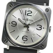 Bell And Ross Brs Brs-92-s Date Automatic Boys Silver Dial Ss Rubber [e0514]