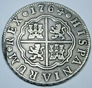 1764 Spanish Silver 2 Reales Antique 1700s Colonial Two Bit Pirate Treasure Coin