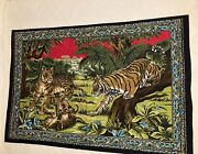 Vintage Tapestry Wall Hanging Tiger Cubs Jungle Large 57 X 39 Made In Turkey