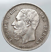 1869 Belgium With King Leopold Ii And Lion Antique Silver 5 Francs Coin I91433
