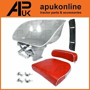 David Brown 770 780 880 990 Tractor Adjustable Seat Pan And Red Cushion White Bead