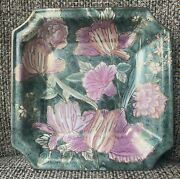 Hand Painted Ironstone Octagon Square Plate Pink Flowers Luster Gold Detail 8andrdquo