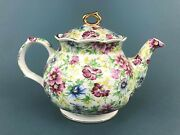 Windsor Chelsea Chintz Summer Pink Yellow Blue Flowers Teapot Gold Trim 6 1/4and039and039