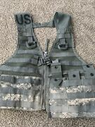 Us Army Acu Molle Fighting Load Carrier Bearing Vest W/ Mag Pouches