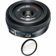 Samsung 20mm F/2.8 Pancake Lens For Nx10 / Nx100 Black With Pro Filter