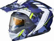 Scorpion Matte Blue Md Exo-at950 Outrigger Helmet W/electric Shield 95-1614-se