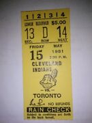 Len Barker Perfect Game Ticket May 15 1981