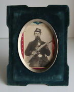 Original Large Format Photograph Civil War Soldier In Period Mourning Frame