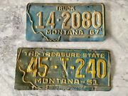 Montana License Plates Lot Of 2 Prison Made Truck The Treasure State Vintage