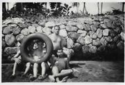 Vintage Old Photograph Four Men Trunks Bare Chests Feet Legs Rubber Tyre 1950