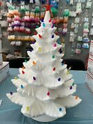 X-large 23 Alberta Double Ring Christmas Tree Ceramic Bisque Includes Lights