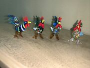 Four New Made In Italy Multi Colored Freeform Roosters Figurines Beautiful
