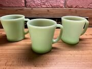 3 Vtg Anchor Hocking Fire-king Oven Ware Jadeite Green D Handle Coffee Cup Mug