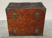 Vintage Antique Wood Fishing Tackle Tool Box Saltwater Primitive Wooden Chest