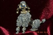 Vintage 60s Dog Brooch Fancy Gray Poodle W/pearl Earrings And Necklace 51