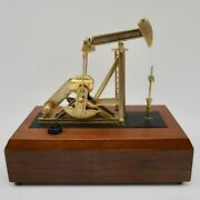 Oil Rig Drill Drilling Jack Pump Music Box Working Metal On Wood Base Repaired