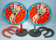 1950s Roy Rogers And Trigger Horseshoe Game Ohio Art 2 Tin Targets Western Cowboy