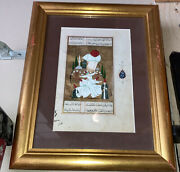 Beautiful Persian Art Framed Matted Vintage Untranslated Script Amazing