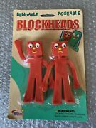 Vintage Nj Croce Gumby Blockheads G And J Bendable Figure Pair Sealed Package New