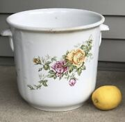 Antique Buffalo Pottery Jardiniere With Cover Roses Yellow And Pink Signed