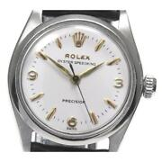 Rolex Oyster Speed king 6430 Cal.1215 Manual Boys White Ss Leather [e0517]