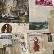 Huge Victorian Antique 58 Pages Scrap Book Historical Newspaper Clippings Rare