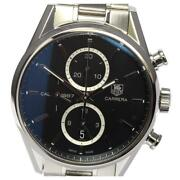Tag Heuer Carrera Car2110-0 Cal.1887 Automatic Menand039s Black Dial Ss [e0517]