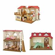 Calico Critters Red Roof Mansion Gift Set Dollhouse Playset Featuring 3 Uniqu...