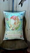 Shabby Primitive Vintage Style Easter Painting Egg Bunny Rabbit Post Card Pillow