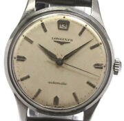 Longines Cal.234 Antique Self-winding Ss Leather Ivory Dial Menand039s Watch [u0517]