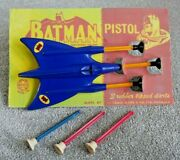 Vintage Marx Batman Triple Jet Dart Toy Rare 1960and039s With Darts And Repro Back I497