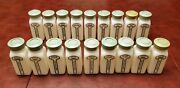 Griffithand039s Vintage Spice Jars Set Of 18 Milk Glass W/ Green Tops Very Nice