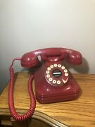 Vtg Red Grand Phone ☎️ Telephone By Pf Products Flash-redial Retro Works Mint