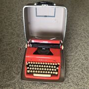 1956 Royal Quiet De Luxe Red Portable Typewriter, Very Good Used Condition