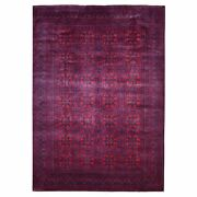 8'3x11'6 100 Wool Deep Saturated Red Afghan Khamyab Hand Knotted Rug G67786