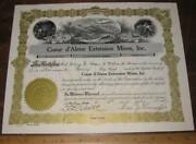 Coeur Dand039alene Extension Mines Inc Stock Certificate 1937 Wallace Idaho Mining