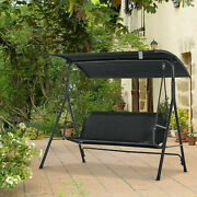 3-person Patio Porch Swing Hammock Bench Padded Seat Lounge Chair With Canopy