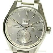 Tag Heuer Carrera Gmt Caliber 8 War5011 Automatic Menand039s Silver Dial Ss [e0518]